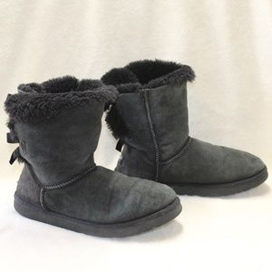 UGG Australia Bailey Bow Boots Solid Black Suede